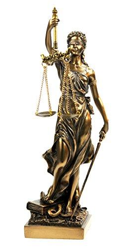 Justitia römische Göttin der Gerechtigkeit - Skulptur - Statue - Figur bronziert