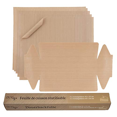 Pritogo Dauerbackfolie (6er Set) - Backpapier, Backfolie, Backunterlage, Backmatte 42 x 33 cm (6er Pack – 5X eckig, 1x Kastenform) zuschneidbar, spülmaschinenfest