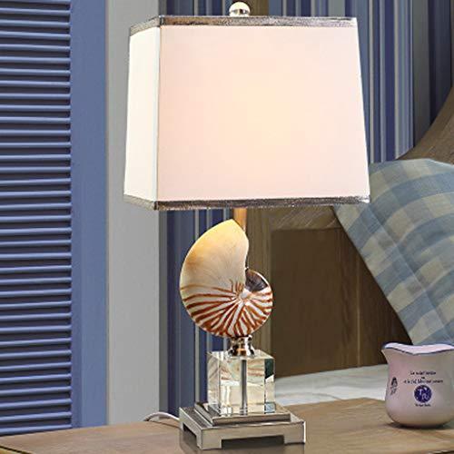 Tafellamp met crèmekleurige schelp, lampenkap van kristalglas, K9 lampenkap van stof, tafellamp van hars, Nautilus