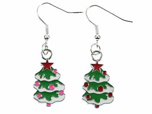 Miniblings Weihnachtsbaum Ohrringe Hänger Tannenbaum Christbaum Weihnachten bunt - Handmade Modeschmuck I Ohrhänger Ohrschmuck versilbert