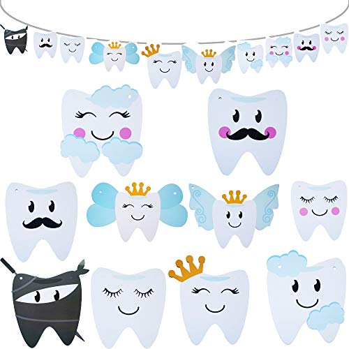 2020 Baby Birthday Decorations Tooth Party Banner for Kids Boys or Girls 1st Birthday Party and Dental Graduation Party Decorations, 10 Different Smilling Tooth Angel Deisgn with Cute Mustache Cloud and Crown, Great for Baby Shower Decorations