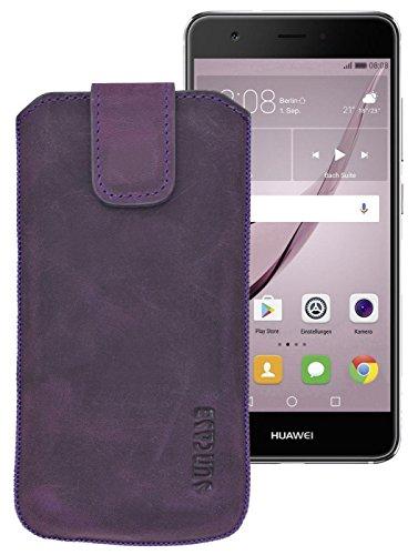 Suncase Original Etui Tasche für Huawei Nova Plus | mit ZUSÄTZLICHER Hülle/Schale/Bumper *Lasche mit Rückzugfunktion* Ledertasche Schutzhülle Hülle Hülle in antik-lila | Inkl. TPU