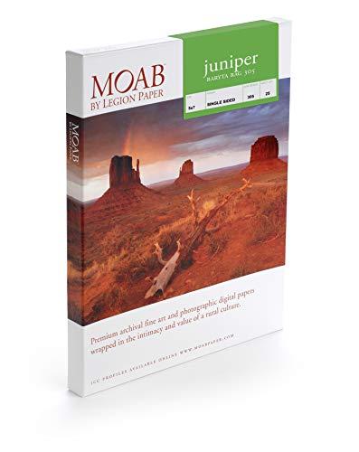 Moab Juniper Baryta Rag 305, A2, 25 Blatt, Drucker-Fotopapier, 305 g/m2, Faserpapier aus 100% Baumwolle