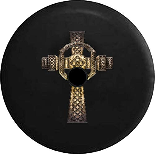Pike Outdoors JL Series Spare Tire Cover Backup Camera Hole Stone Celtic Cross Irish Eternity Knot Black 32 in
