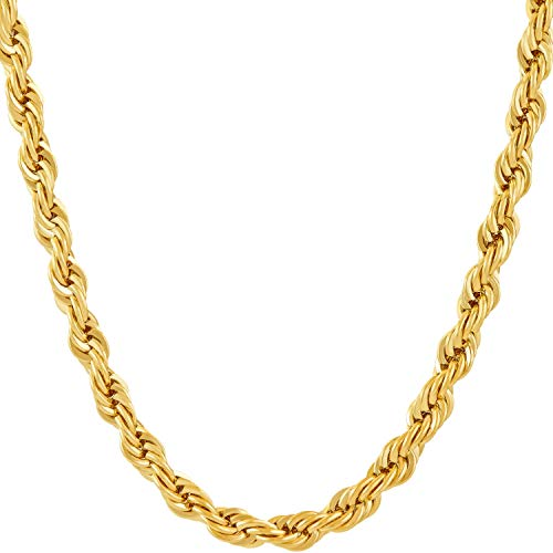 LIFETIME JEWELRY 6mm Rope Chain Necklace (Gold, 20)