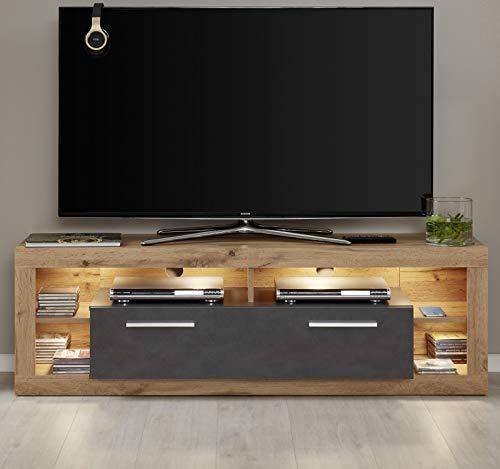 trendteam Wohnzimmer Lowboard Fernsehschrank Fernsehtisch Rock, 150 x 48 x 44 cm in Korpus Wotan Eiche Dekor, Front Matera Dekor,  Absetzung Wotan Eiche Dekor mit vier offenen Fächern