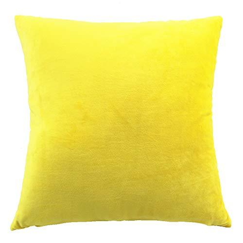 Funnie Funda de Cojín de Color sólido Square Decorativos Felpa Funda de Almohada para Hogar Dormitorio Sofá Coche Cama Fundas de Cojines Amarillo 70X70CM