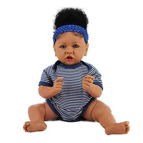 HUANLIAN Reborn Puppe Schwarzes Haut Mädchen Große 22 Zoll 58Cm Truhe Looking Vinyl Silikon Ganzkörper Echte Lebensechte Realistische Neugeborene Baby Puppen Weihnachten Geschenk