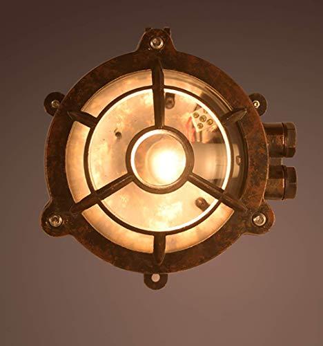 Lampada da parete rotonda rotonda, lampada da parete impermeabile per esterni Lampada da parete nautica nautica Lampada industriale, plafoniere per balconi rustiche E27 (con lampadina a LED calda Ed