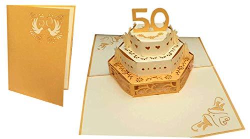 LIN-POP UP Karte Hochzeitskarten, Hochzeitseinladungen, 3D Karte Jahrestag, 3D Karten Grußkarten 50. Hochzeit, 50.Hochzeitjubiliäum Hochzeitsglückwunsch, Torte