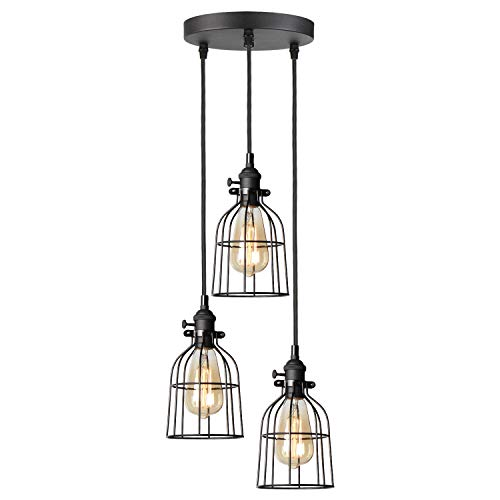 TANGSHI 3 Lampen, Retro Black Pendelleuchte Light mit Metalldraht Cage, Hängeleuchte Adjustable Textile Antique Cord