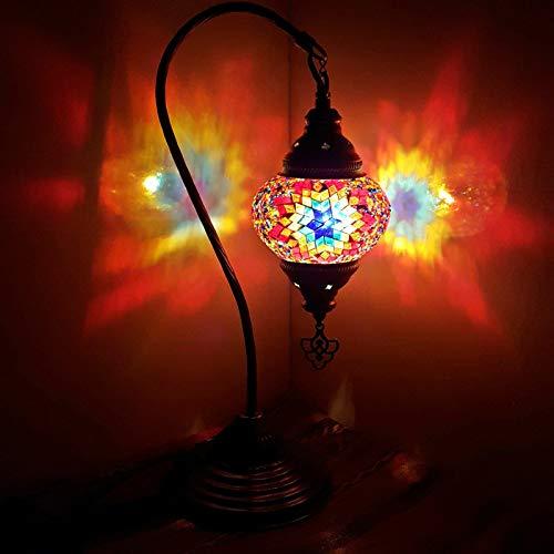 Bronzo Fatto a Mano Turco Marocchino Arabo Orientale Bohémien Stile Tiffany Mosaico di Vetro Bella Lampada da Tavolo Lampada Lampade Decorazione per la Casa