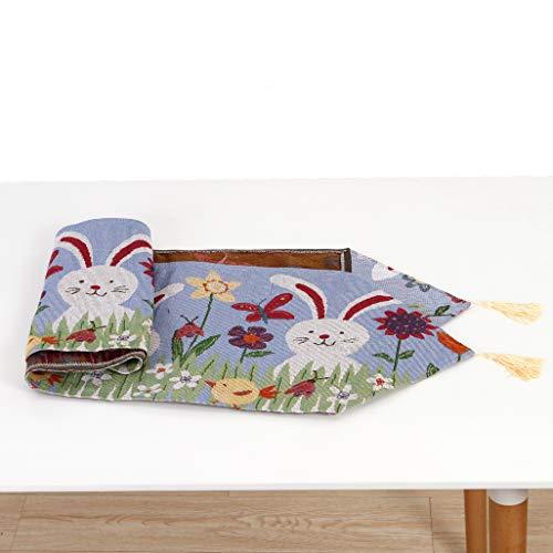 Folora Tafellopers Pasen 13x71(in) Veelkleurig, Tafelkleed Ei en Bunny voor Pasen Decoraties Party Keuken Eten Bruiloft Thuis Kleurrijke Print