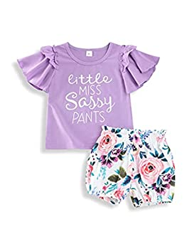 Xuuly Toddler Girl Clothes Little Miss Sassy Pants Ruffle Sleeve Top+Floral Shorts Toddler Girl Summer Outfits Purple