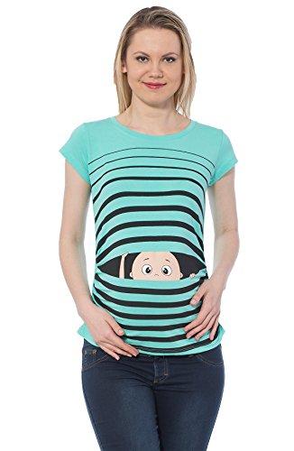 Ropa premamá Divertida y Adorable, Camiseta con Estampado, Regalo Durante el Embarazo - Manga Corta (Turquesa, Large)