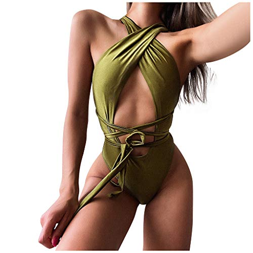 Bikini sexy para mujer con push-up, traje de baño verde M