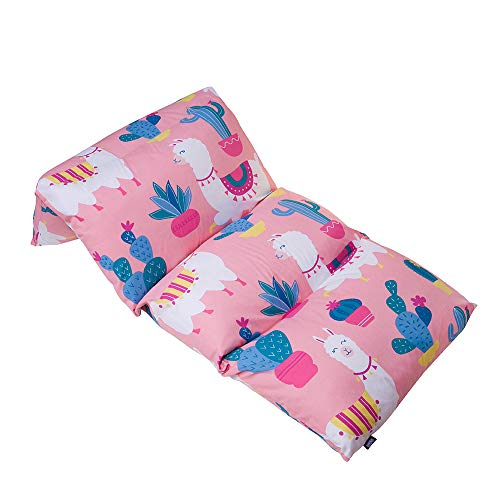 Wildkin Kids Pillow Lounger for Boys & Girls, Travel-Friendly & Perfect for Sleepovers, Requires 4 Standard Size Pillows (Not Included), Measures 69.5 x 27 Inches, BPA-Free (Llamas & Cactus Pink)