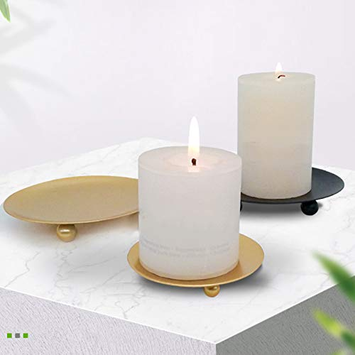 FINIVE Romantic Metal Candle Sconces Holders Creative Candlestick Holders Durable Candelabra Plate Candle Holder for Home Wedding Party Festival Decoration Black L