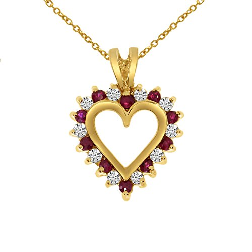 14k Yellow Gold Ruby and Diamond Heart Shaped Pendant with 18' Chain
