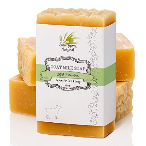 Goat Milk Soap Bars (3 Pack) - Essential Oil Blend, Smells Like A Spa - Gentle on Eczema, Psoriasis & Dry Sensitive Skin. All Natural Handmade Soap For Face & Body. Made In USA (Each Bar 4-4.5 oz)