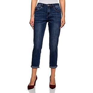 oodji Ultra Women's Mid-Rise Boyfriend Jeans, Blue, 30W / 32L (UK 14 / EU 44 / XL)