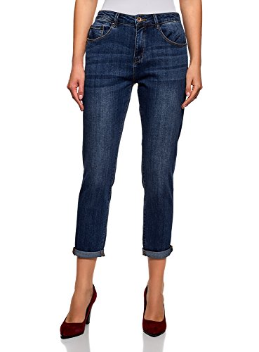 oodji Ultra Damen Boyfriend-Jeans mit Regulärem Bund, Blau, 30W / 32L