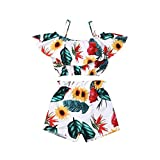 Geagodelia Ensemble vêtements pour bébé fille, débardeur / haut sans manches et short, au motif de fleurs, pour l'été - Blanc - 3-4 ans