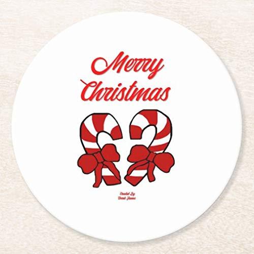 Posavasos para bebidas, base de corcho, bastones de caramelo de Navidad, juego de 4 posavasos redondos para el hogar y la cocina, divertido regalo para el hogar, regalos de Navidad