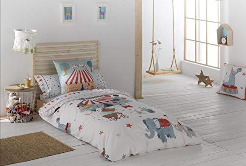 El Tintorer Juego de Funda nórdica Circus 3 Piezas (Funda nórdica + Bajera Ajustable + Funda de Almohada) (Cama 105 cm.)