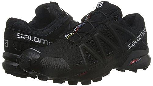 Salomon Men's Speedcross 4 Trail Running, Black/Black/Black Metallic, 12