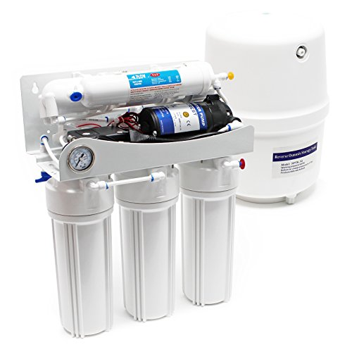 Naturewater 5 Stufen Umkehrosmose RO 180 L/Tag mit Druckerhöhungspumpe und Druckanzeige