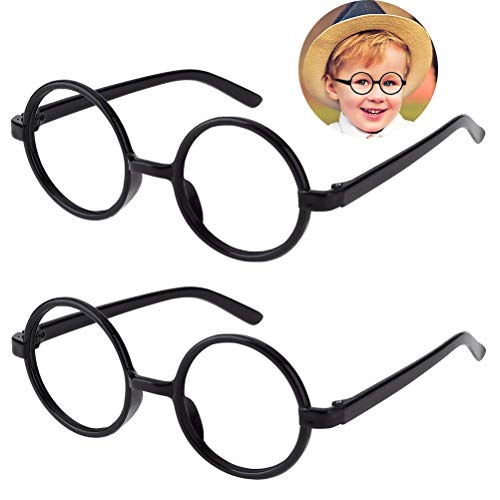 Kids Wizard Glasses Retro Round Glasses Frame No Lenses for St Patrick's Day Christmas Harry style Costume Party Cosplay Supplies 2 pack