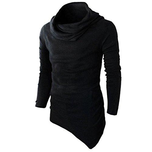 YunYoud Männer Slim Fit Tuetleneck Tops Lange Ärmel Muskel Hemd Herren Einfarbig Patchwork Blusen Mode Beiläufig T-Shirt Irregulär Pullover Sweatshirt (S, Schwarz)
