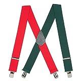 SuspenderStore Men's Red/Green Suspenders - 2 Inch Wide