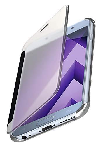 moex Dünne 360° Handyhülle passend für Samsung Galaxy A5 (2017) | Transparent bei eingeschaltetem Display - in Hochglanz Klavierlack Optik, Silber