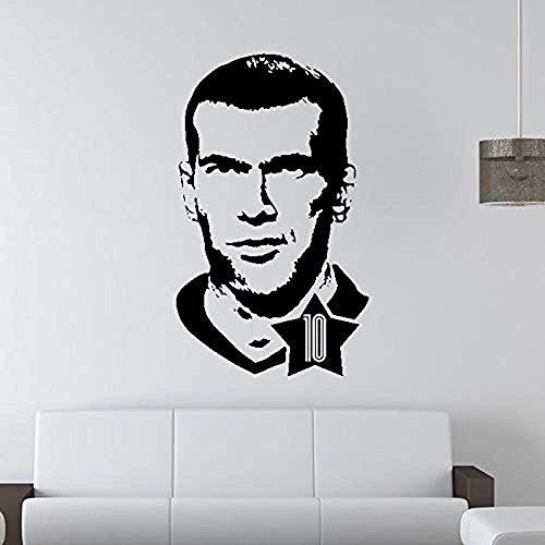 Etiqueta de la pared Jugador de fútbol Etiqueta de la pared Etiqueta engomada de la estrella del fútbol Decoración de la habitación de los niños 91X57Cm