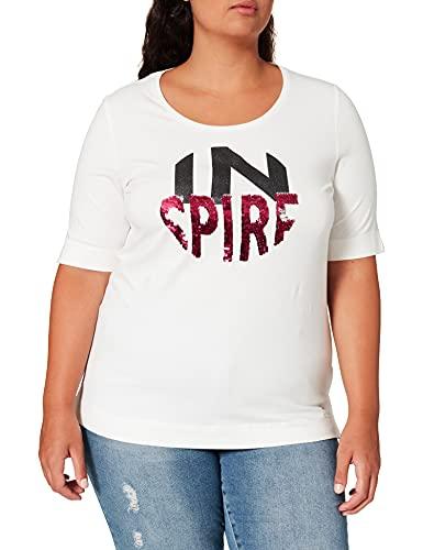 Samoon T-Shirt 1/2 Arm, Motivo Bianco, 52 Donna