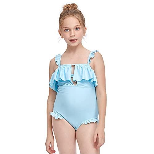 ReedG Chicas para niños Traje de natación Incluido Juego de Traje de baño de niñas Juego de Traje de baño de Playa de Verano Traje de baño de Bikini (Color : Blue, Size : 116CM)