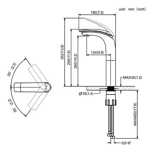 Homelody – Design-Waschtischarmatur, Einhebelarmatur, ohne Ablaufgarnitur, hoher Auslauf, Chrom - 5