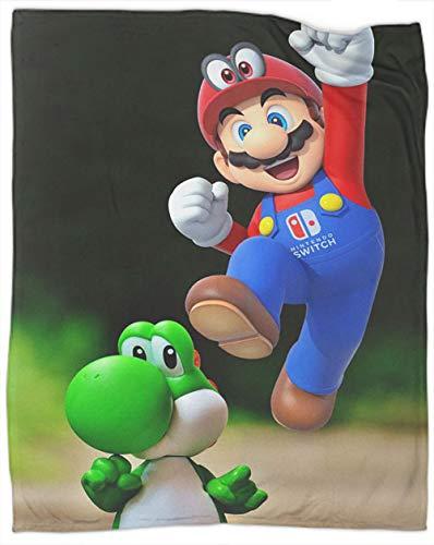 Coobal Super Mario Bros - Manta reversible de forro polar, diseño de Super Mario Bros