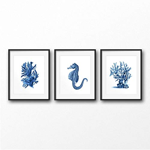 ARTTONIT Azul náutico Acuarela Carteles e Impresiones Decoración Costera Vida Marina Estrella de mar Coral Tortuga Ilustración Arte Lienzo Pintura 40x60cmx3 sin Marco