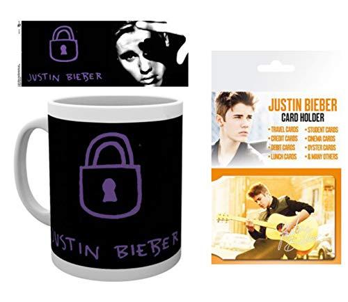 1art1 Justin Bieber, Purpose, Locked Taza Foto (9x8 cm) Y 1 Justin Bieber, Tarjeteros para Tarjetas De Crédito (10x7 cm)