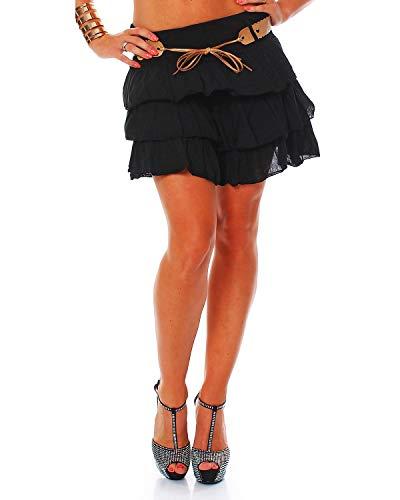Zarmexx süsser Damen Volantrock Sommerrock Minirock mit Gürtel Baumwolle Rüschen Rock (schwarz, one Size)