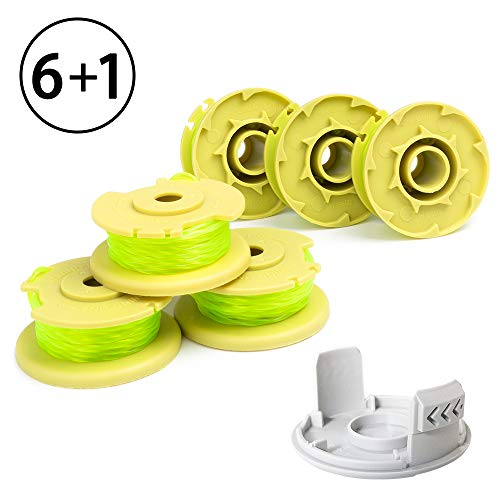 X Home Weed Eater Replacement Spools Compatible with Ryobi One Plus+ 18V 24V 40V AC80RL3, AC14HCA String Trimmer Cap Covers, 11ft 0.080 inch Cordless Twist Single Line (6 Spool, 1 Cap)
