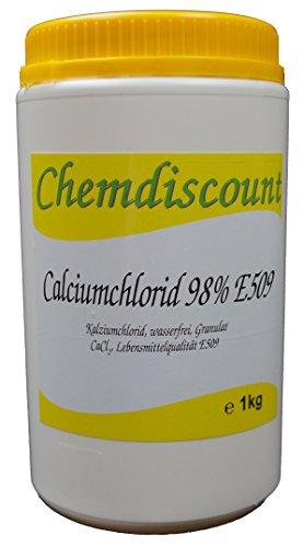 1kg Calciumchlorid CaCl2 (98%), wasserfrei, Lebensmittelqualität E509, Granulat, gekörnt