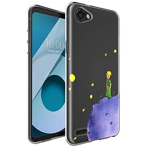 Funda LG Q6, YOEDGE Ultra Slim Cárcasa Silicona Transparente con Dibujos Animados Diseño Patrón [El Principito] Resistente Bumper Case Cover para LG Q6 Smartphone (Púrpura)