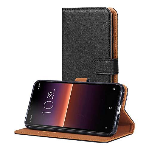 AICEK Hülle Kompatibel mit Sony Xperia 10 II, Lederhülle für Sony Xperia 10 II Schutzhülle PU Leder Klapphülle mit Kartenfach Ständer Magnet Funktion Schwarz (6,0 Zoll)
