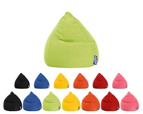 lifestyle4living Sitzsack für Kinder und Jugendliche, Grün, Microfaser Bezug | Pflegeleichter und bequemer Beanbag Easy L Liegesack 120l