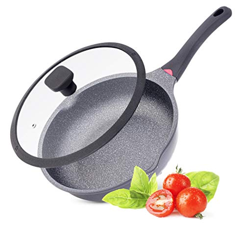 Vinchef Nonstick Frying Pan With Lid, 11 Inch Cast-Aluminum Deep Saute Pan with Heat Indicator and German Greblon Non-Stick Stone Tech, Anti Scratch and Anit Stain, Induction Compatible