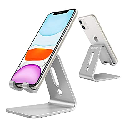 OMOTON Desktop Cell Phone Stand [Updated Solid Version], Advanced 4mm Thickness Aluminum Stand Holder for Switch, Mobile Phone, iPhone 11 Pro Xs Max Xr, Silver by OMOTON